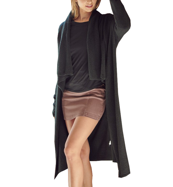 Draped Knit Cardi in Black