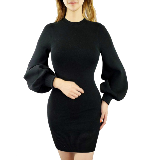 Mock Neck Bubble Sleeve Dress - Hudson Square Boutique