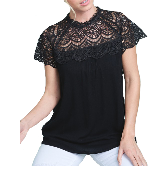 Lace Mock Neck Top in Black - Hudson Square Boutique
