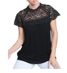 Lace Mock Neck Top in Black