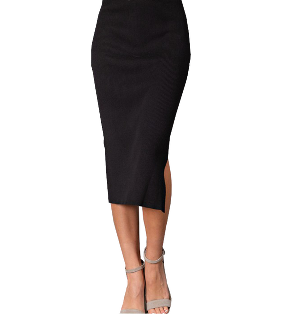 Black Ribbed Side Slit Midi - Hudson Square Boutique