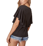 Black Ruffled Top - Hudson Square Boutique