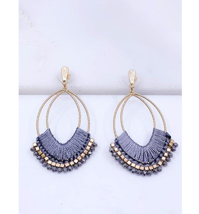 Grey Threaded Statement Earrings