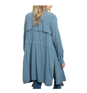 Blue Draped Long Sleeve Tie Front Jacket