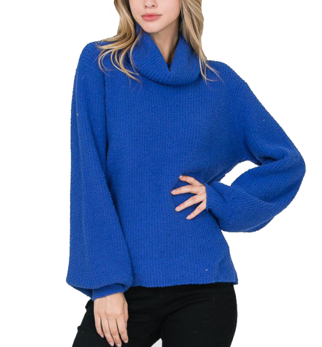 Cozy Cobalt Turtleneck with Balloon Sleeves