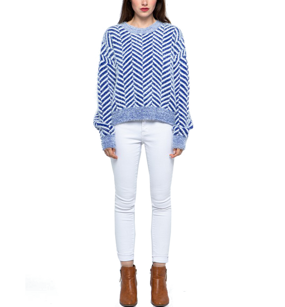 Mohair Chevron Blue + White Sweater