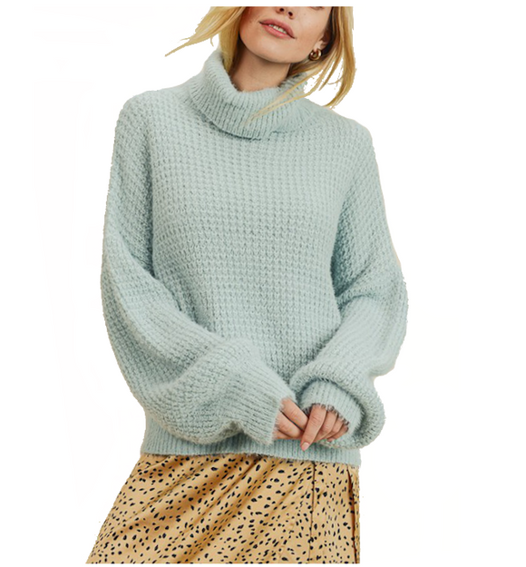 Fuzzy Honeycomb Turtleneck