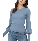Blue Stone Puff Shoulder Sweater