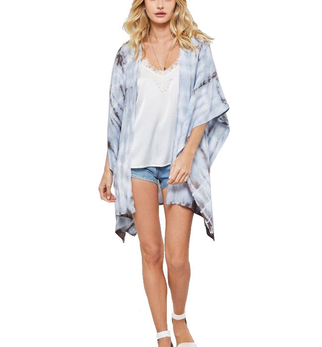 Tie Dye Kimono in Blue & Brown - Hudson Square Boutique