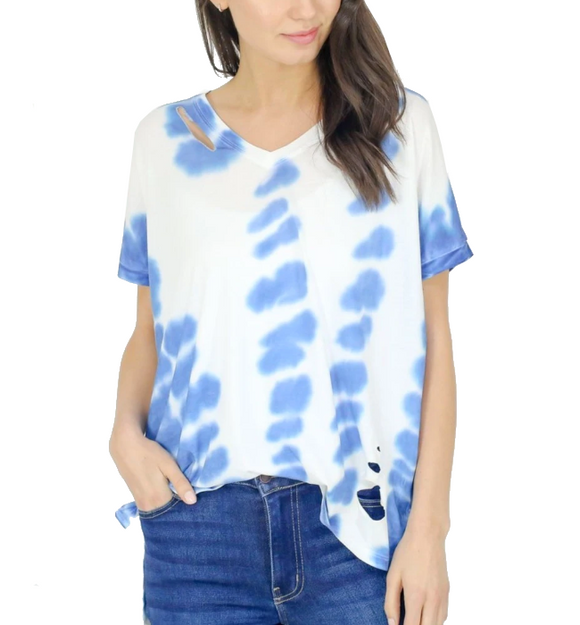 Ripped Tie Dye Tee in Blue - Hudson Square Boutique
