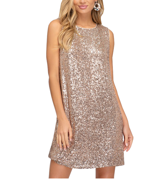 GLAM Sequin Sleeveless Dress - Hudson Square Boutique