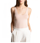 Basic Round Squared Neck Tank Top in Blush