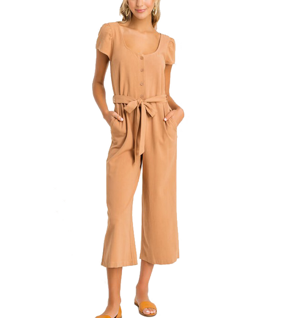 Camel Jumpsuit - Hudson Square Boutique