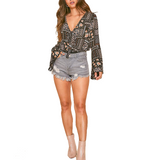 Floral Bell Sleeve Bodysuit - Hudson Square Boutique