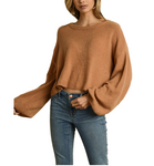 Camel Brown Cropped Sweater