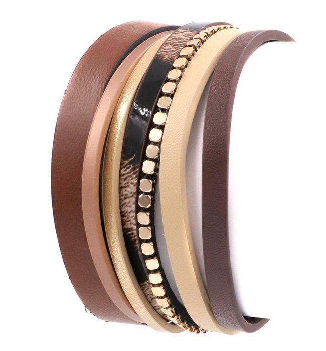 Brown Vegan Leather Layered Bracelet