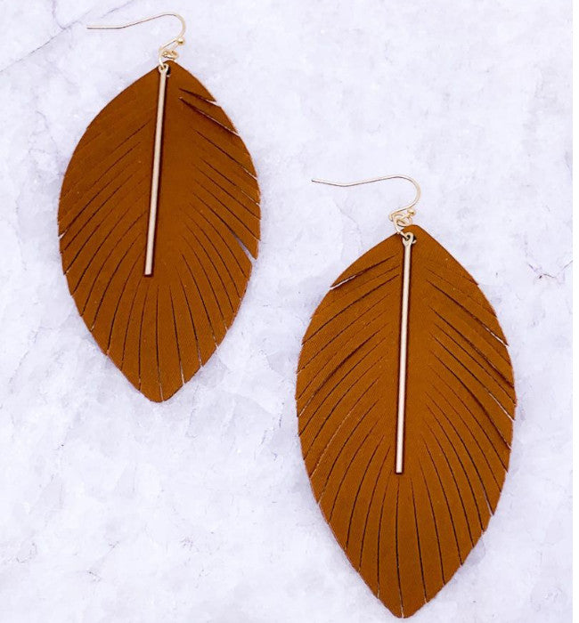 Brown Fringe Bar Drop Earrings