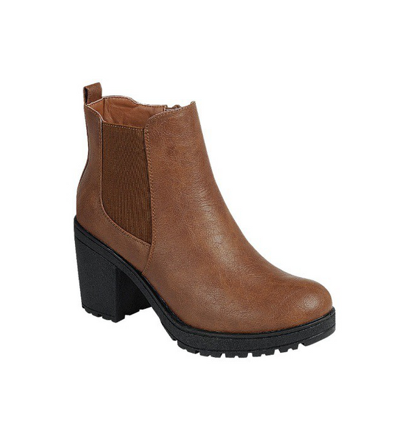 Camel Ankle Bootie with Block Heel