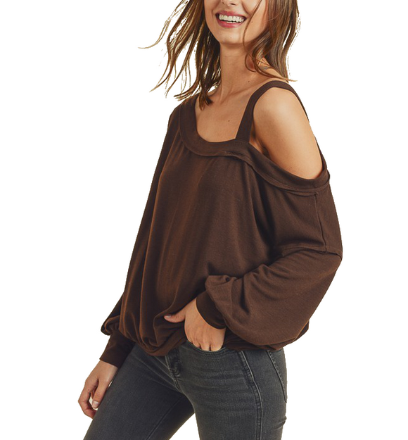 Mocha One Shoulder Top