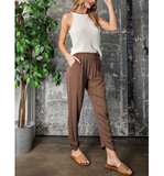 Olive High Waisted Joggers - Hudson Square Boutique LLC