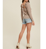 Latte Ribbed Tie Back Sweater - Hudson Square Boutique