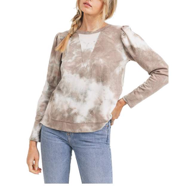 Tie Dye Puff Shoulder Top - Hudson Square Boutique