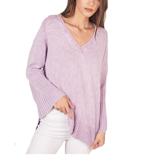 Lavender V Neck Sweater