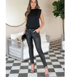 Premium Coated Black Skinny Pants + Belt - Hudson Square Boutique