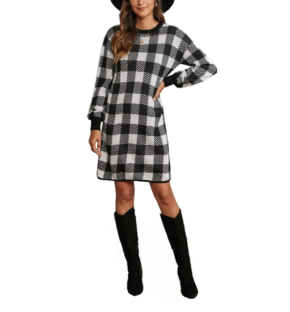 Black + White Buffalo Sweater Dress - Hudson Square Boutique