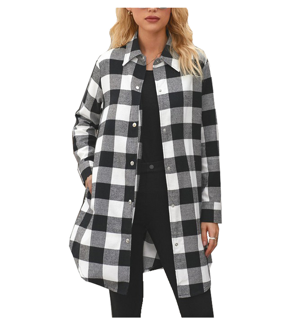 Black + White Buffalo Plaid Shirt - Hudson Square Boutique