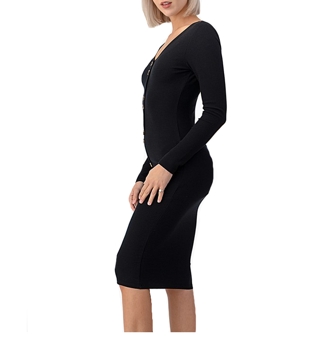 Ribbed Solid Black Bodycon Midi Dress - Hudson Square Boutique