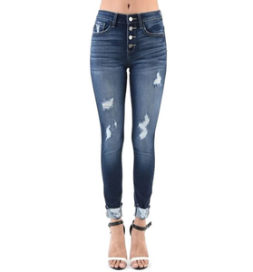 High Waisted Button Front Distressed Denim - Hudson Square Boutique