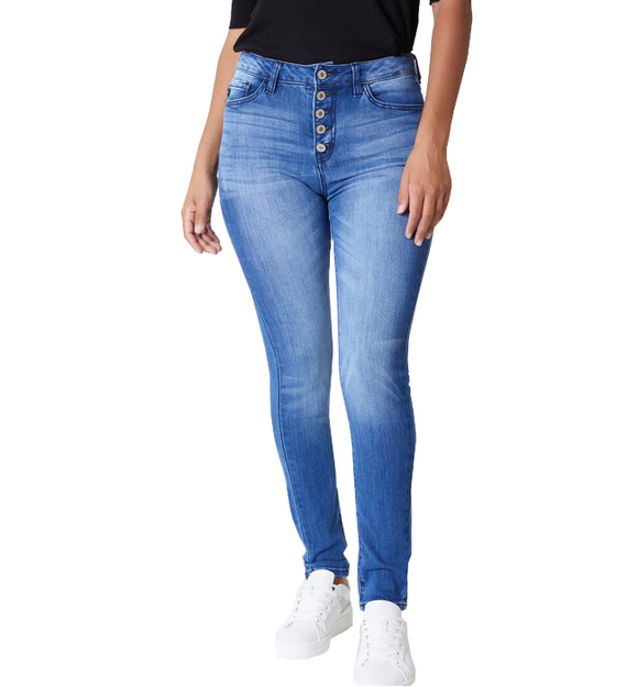 High Rise Button Front Skinny Jeans - Hudson Square Boutique