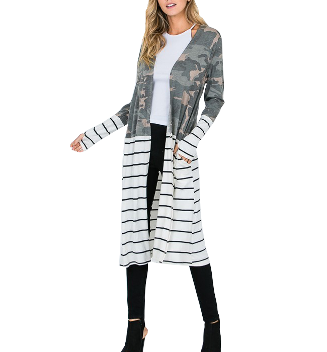 Camo Striped Duster With Pockets