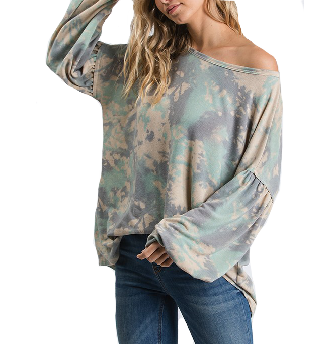 French Terry Camo Tie Dye Top