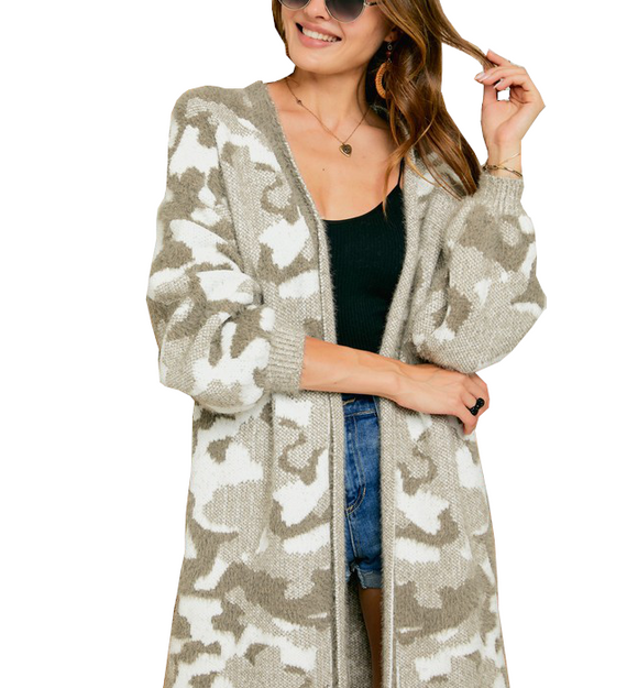 Camo Cardi in Taupe + Ivory - Hudson Square Boutique