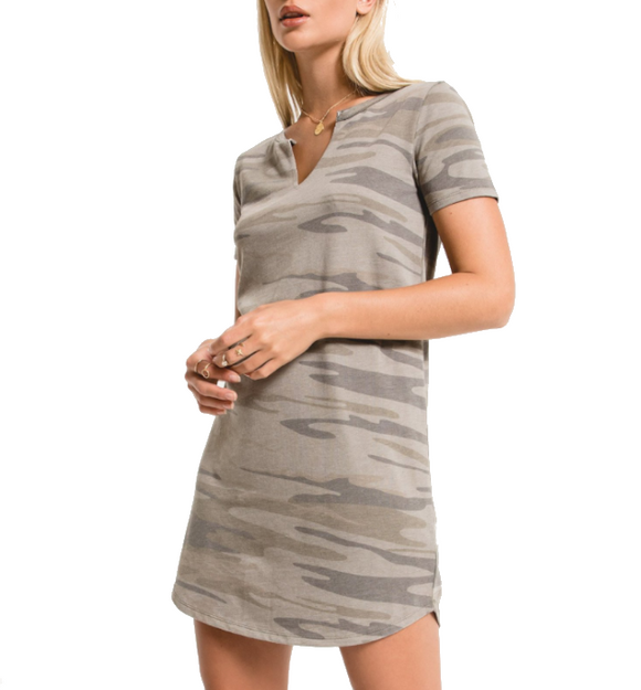 Camo Split Neck Dress - Hudson Square Boutique
