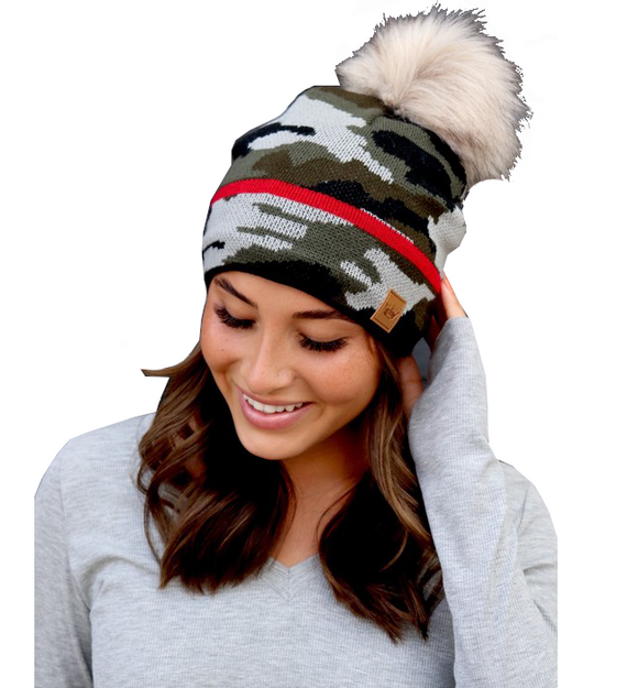 Fleece Lined Camo Hat