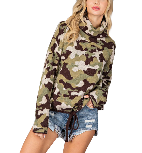 Camo Cowl Drawstring Sweater