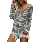 Green + Gray Camo Waffle Top - Hudson Square Boutique