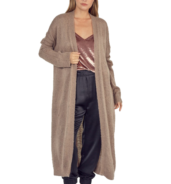 Mocha Soft Knit Long Cardigan