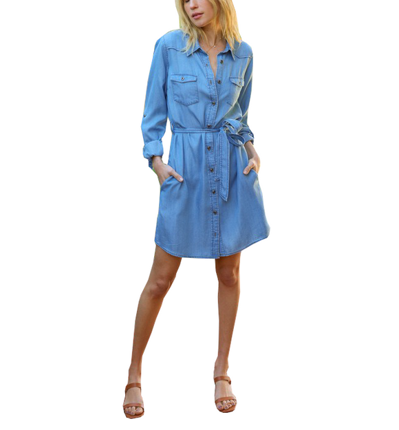 Denim Blue Tie Waist Dress - Hudson Square Boutique LLC