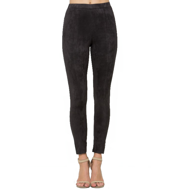 Dark Charcoal Vegan Suede Leggings - Hudson Square Boutique