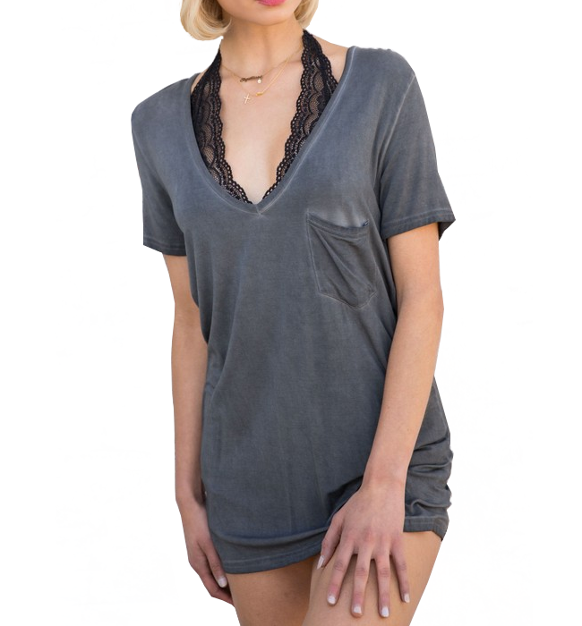 Boyfriend Tee in Charcoal - Hudson Square Boutique