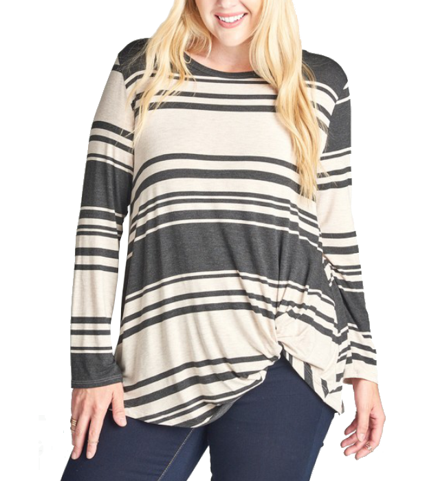 Long Sleeve Charcoal Striped Top