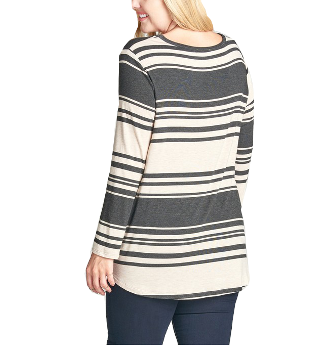 Long Sleeve Charcoal Striped Top - Hudson Square Boutique