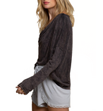 Scoop Cowl Neck Long Sleeve Top - Hudson Square Boutique LLC