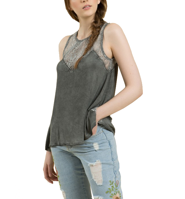 Flowy Lace top with back Zip