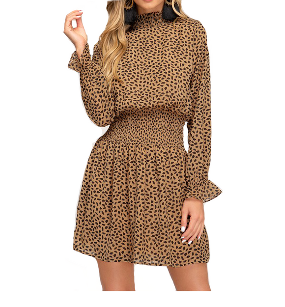Chiffon Printed Camel Dress - Hudson Square Boutique