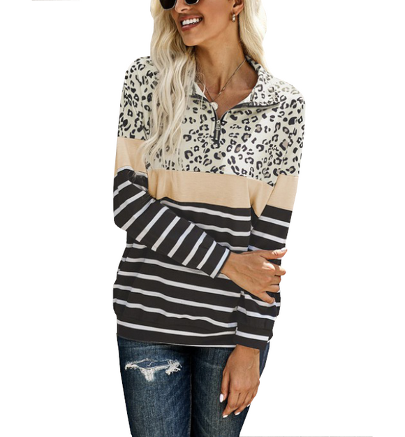 Leopard + Striped Zip Pullover - Hudson Square Boutique LLC